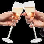 Alcohol het glas heffen voor een toast